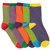 Buy John Lewis Boy Narrow Stripe Socks, Pack of 5, Multi Online at johnlewis.com
