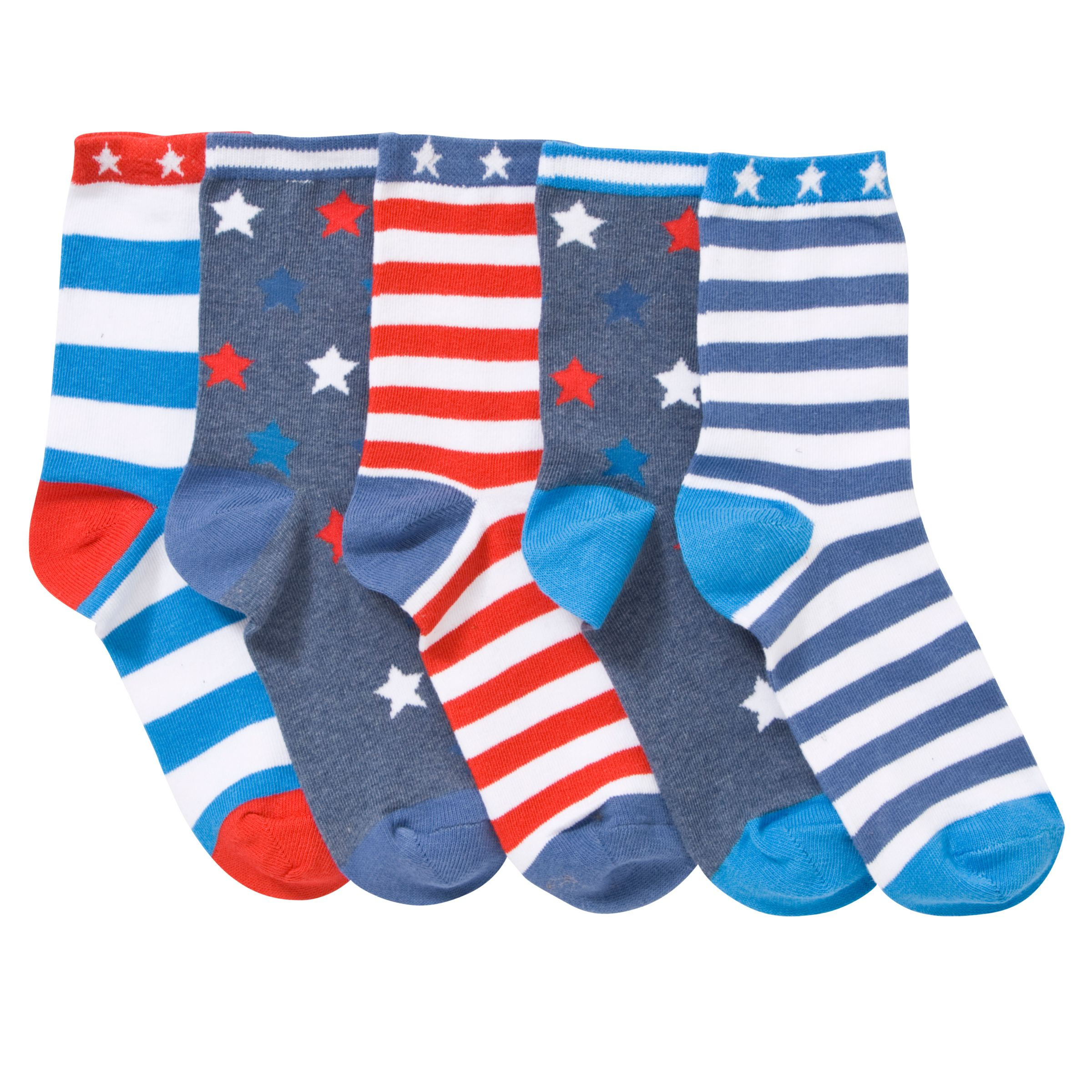 John Lewis Boy Nautical Stars Socks, Pack of 5, Multi