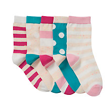 Buy John Lewis Girl Neppy Spot and Stripe Socks, Pack of 5, Multi Online at johnlewis.com