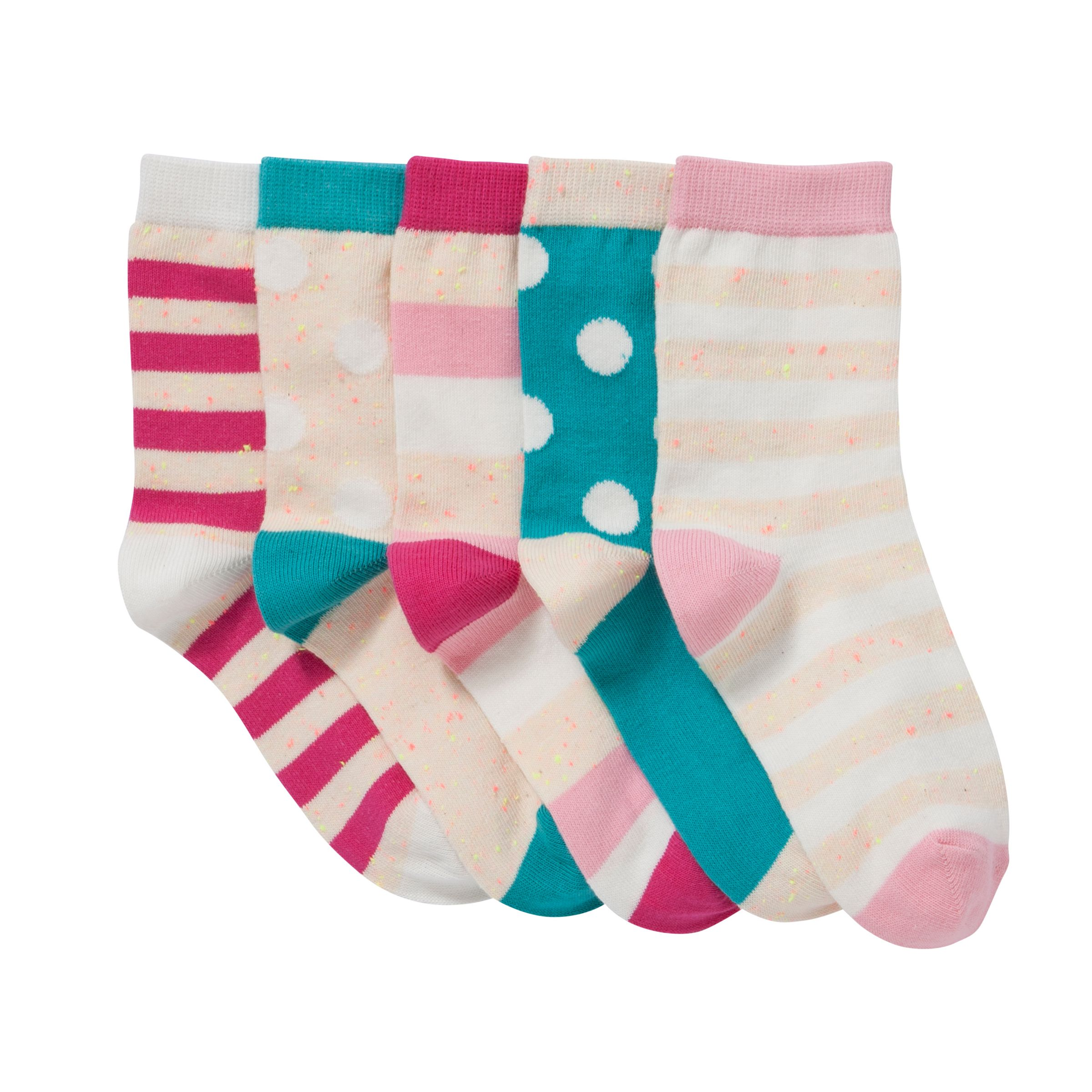 John Lewis Girl Neppy Spot and Stripe Socks, Pack of 5, Multi
