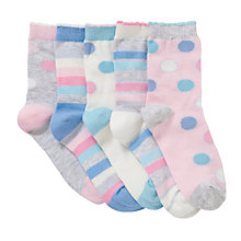 Buy John Lewis Girl Spots and Stripes Socks, Multi Pastels Online at johnlewis.com