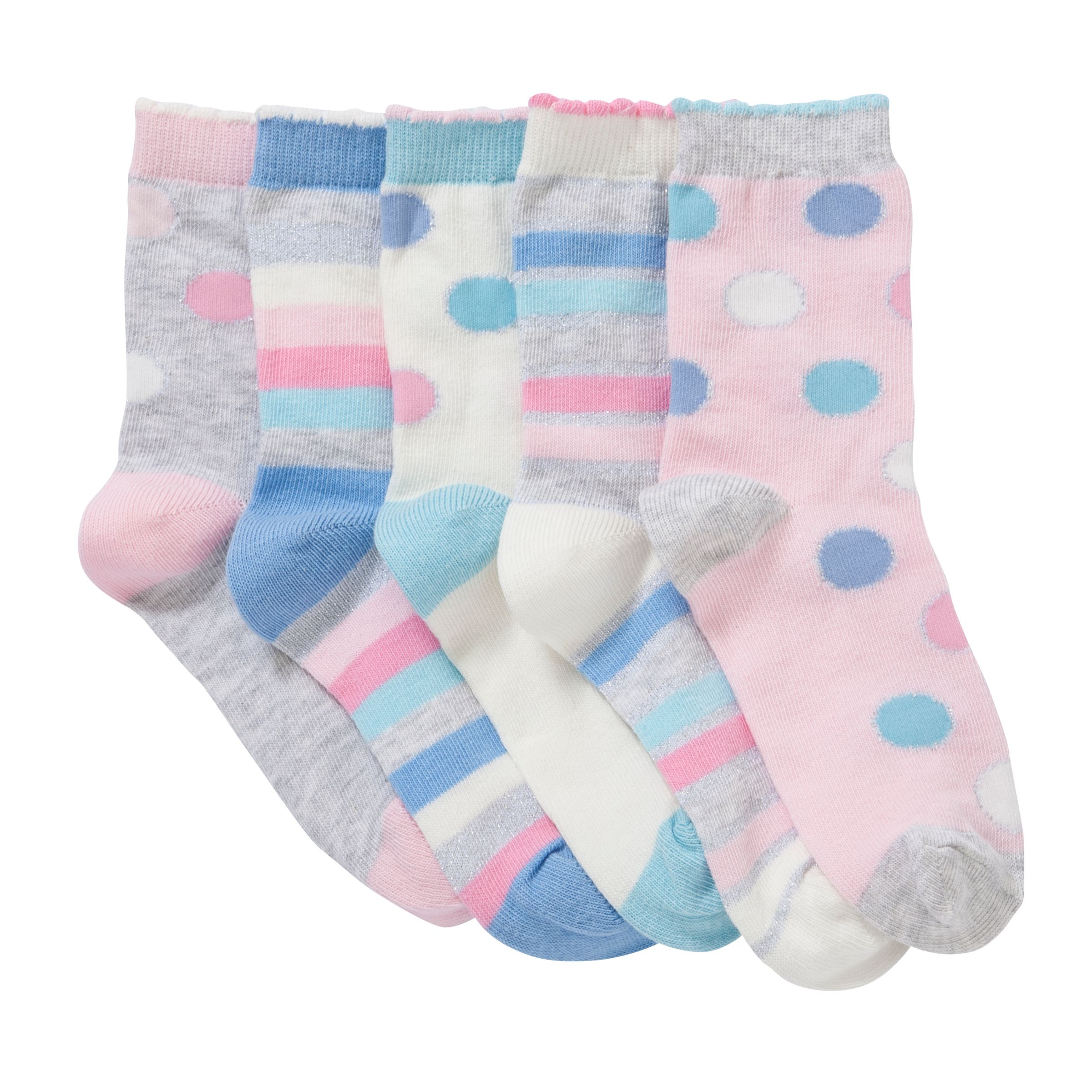 John Lewis Girl Spots and Stripes Socks, Multi Pastels