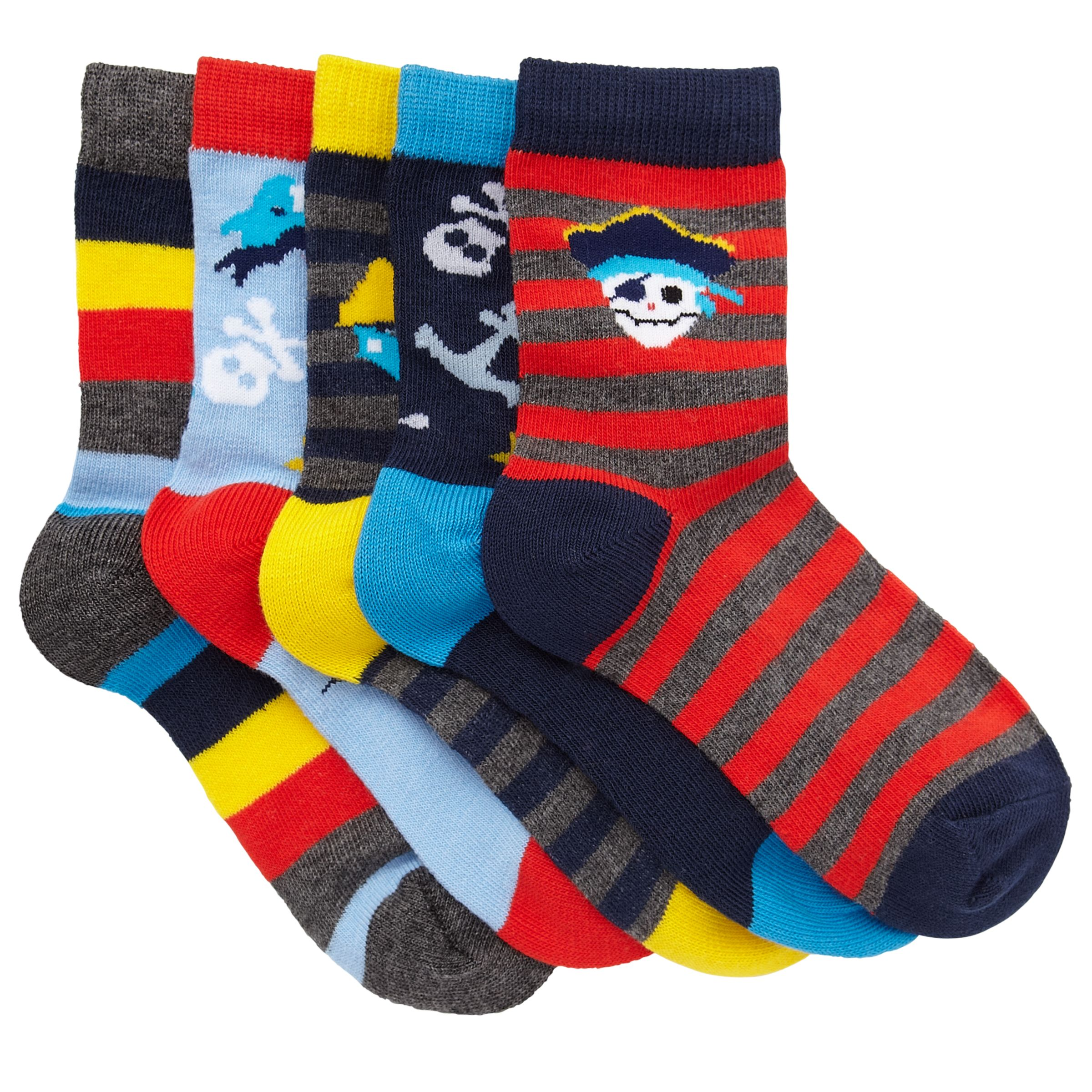 John Lewis Boy Pirate Socks, Pack of 5, Multi
