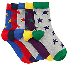 Buy John Lewis Boy Star Socks, Pack of 5, Multi Online at johnlewis.com