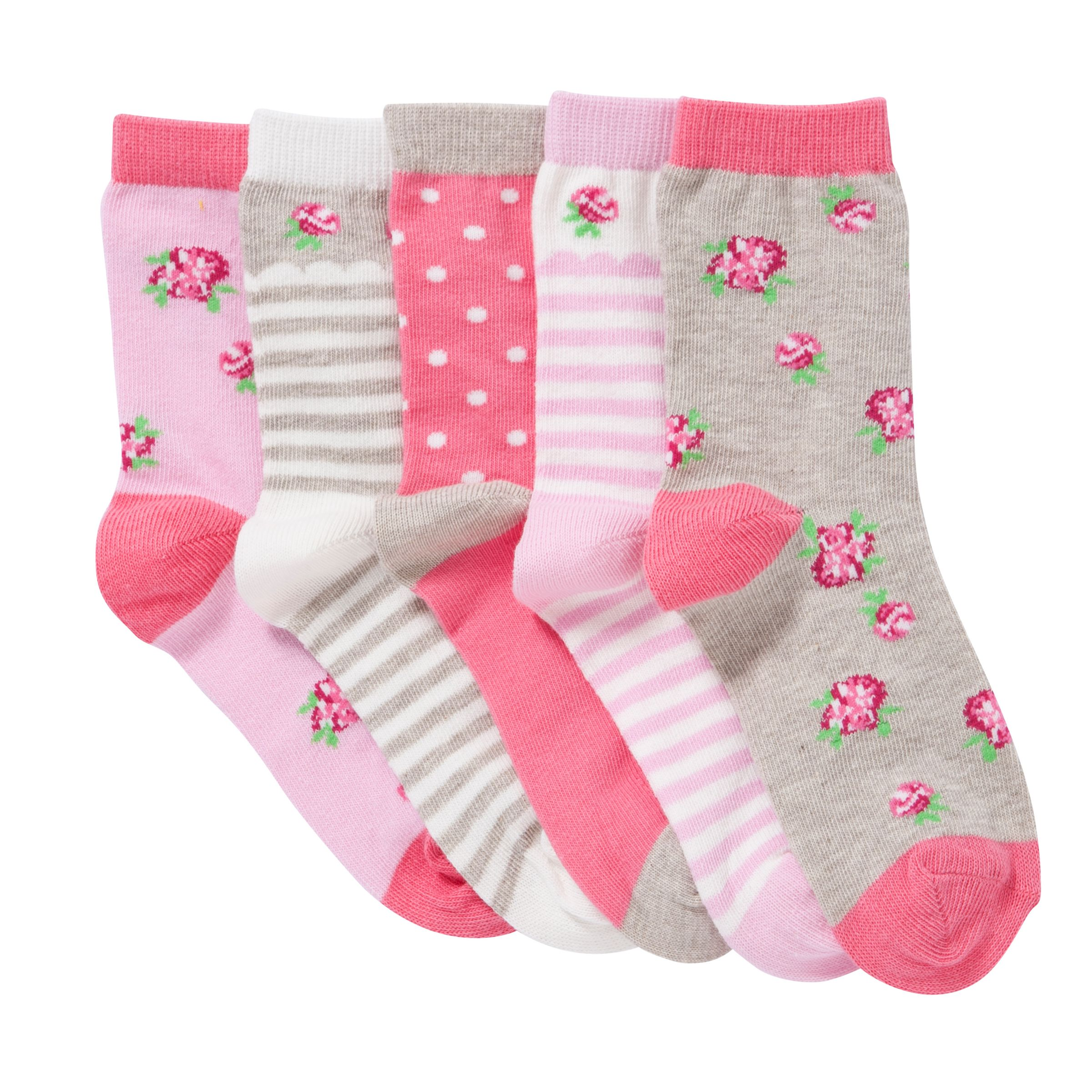 John Lewis Girl Vintage Rose Socks, Pack of 5, Pink