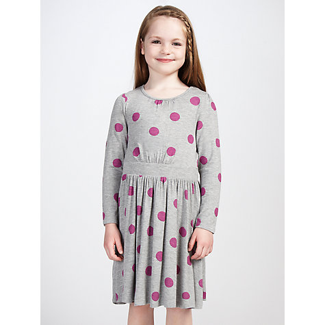 Buy John Lewis Girl Long Sleeved Spot Dress, Grey/Pink Online at johnlewis.com