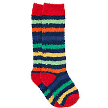 Buy John Lewis Boy Knee Length Fluffy Boot Socks, Multi/Red Online at johnlewis.com