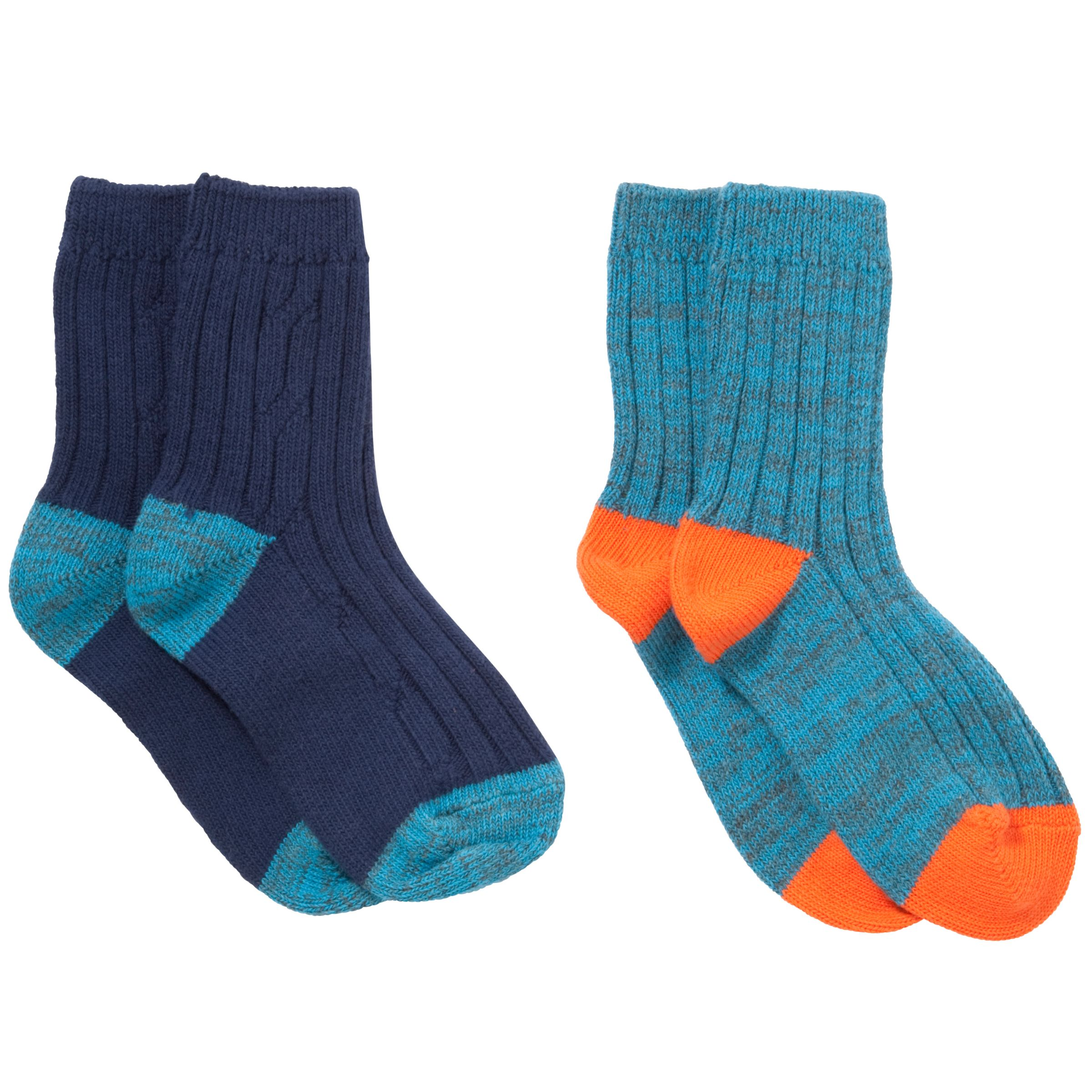 John Lewis Boy Boot Socks, Pack of 2, Blue