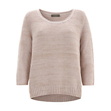 Buy Mint Velvet Lurex Dipped Hem Jumper, Shell Pink Online at johnlewis.com
