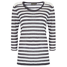 Buy Mint Velvet Lace Striped Top, Grey/Ivory Online at johnlewis.com