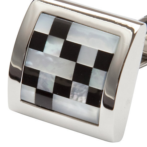 Buy John Lewis Mother of Pearl and Onyx Check Cufflinks Online at johnlewis.com