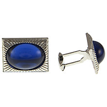 Buy Eclectica Chrome Oblong Blue Cabachon Cufflinks Online at johnlewis.com