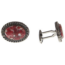 Buy Eclectica Chrome Plate Oval Faux Agate Stone Cufflinks Online at johnlewis.com