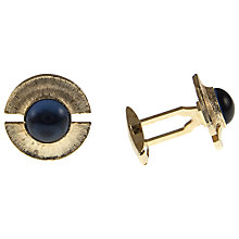 Buy Eclectica Gold Plated Blue Glass Cufflinks Online at johnlewis.com