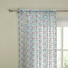 Buy John Lewis Gingham Rose Voile Panel, Blue/Pink Online at johnlewis.com