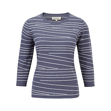 Buy Viyella Angled Stripe Jumper, Indigo Online at johnlewis.com
