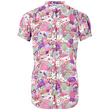 Buy Barbour Kitty Short Sleeved Blouse, Purple/Multi Online at johnlewis.com