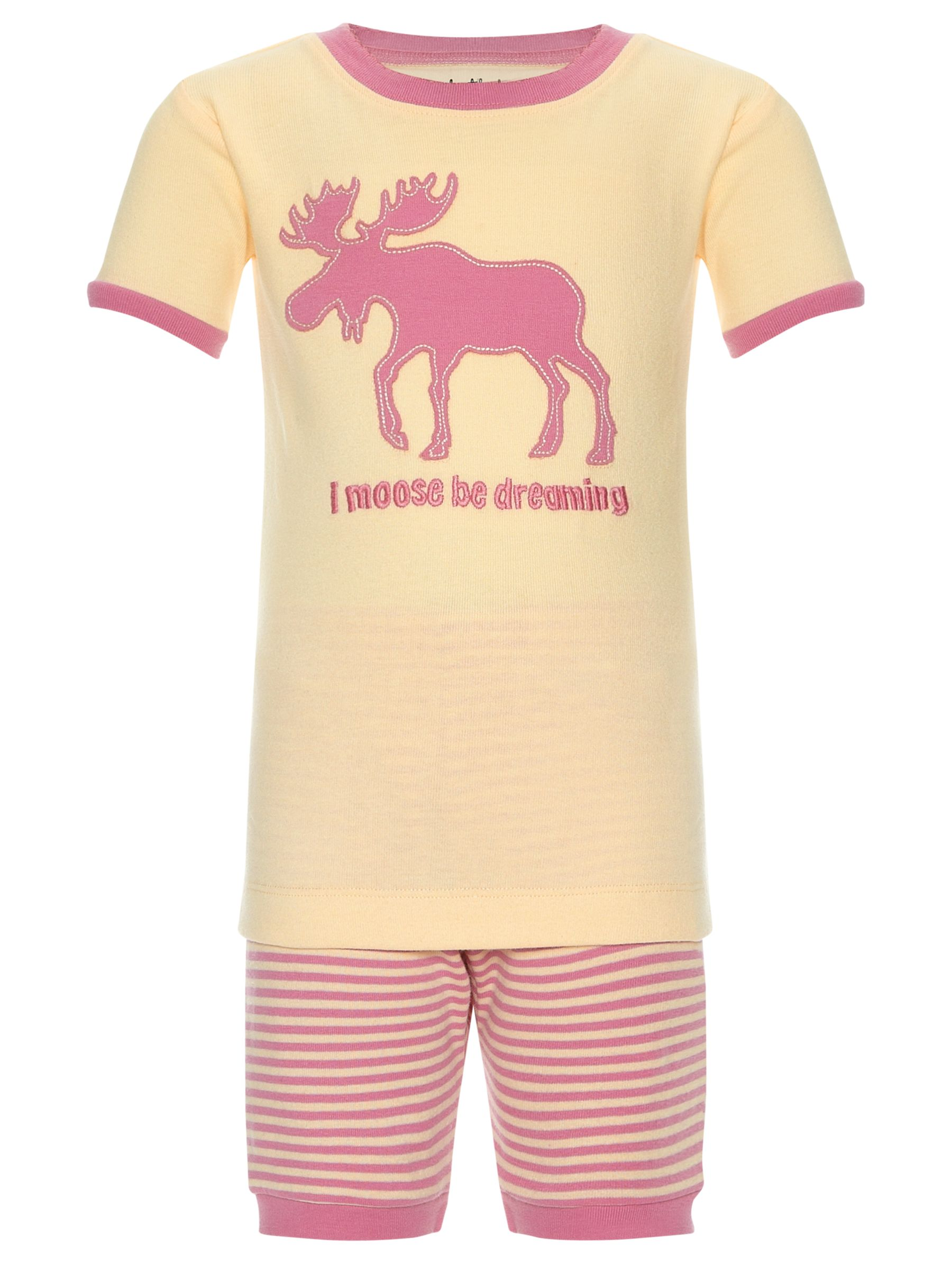 Hatley Moose Shortie Pyjamas, Cream/Pink