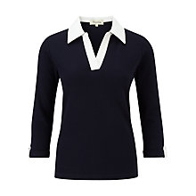 Buy Viyella Petite Waffle Jersey Top, Indigo Online at johnlewis.com