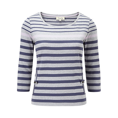 Buy Viyella Petite Striped Jersey Top, Purple Online at johnlewis.com
