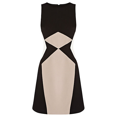 Buy Warehouse Blocked A-Line Dress, Black Online at johnlewis.com
