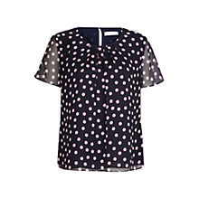 Buy Windsmoor Spot Print Blouse, Navy Online at johnlewis.com