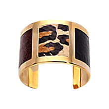 Buy Aspinal of London Roma Leopard Print Snakeskin Cuff Bracelet, Black Online at johnlewis.com