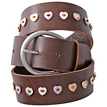 Buy White Stuff Heart Button Belt, Chocolate Online at johnlewis.com