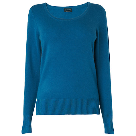 Buy Jaeger Cashmere Jumper, Turquoise Online at johnlewis.com