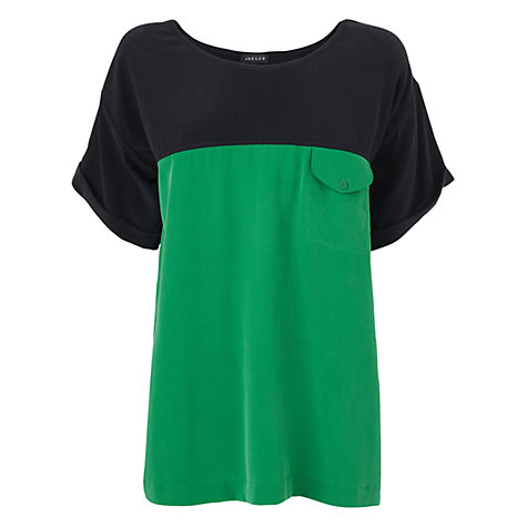Buy Jaeger Colour Block Silk T-Shirt, Green Online at johnlewis.com