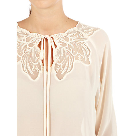 Buy Warehouse Embroidered Mesh Tunic Top, Cream Online at johnlewis.com