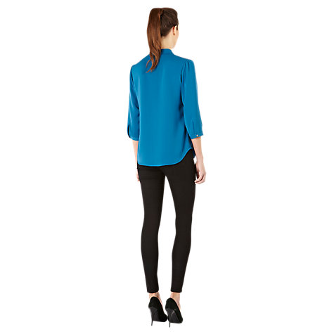 Buy Warehouse Zip Front Blouse, Teal Online at johnlewis.com