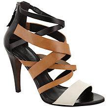 Buy Vera Wang Hinda Leather Stiletto Heel Sandals, Black/Tan Online at johnlewis.com