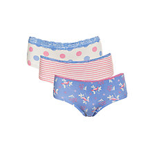 Buy John Lewis Girl Bird Print Briefs, Pack of 3, Pink/Blue Online at johnlewis.com