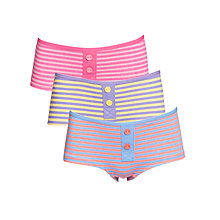 Buy John Lewis Girl Striped Boxer Style Briefs, Pack of 3, Multi Online at johnlewis.com
