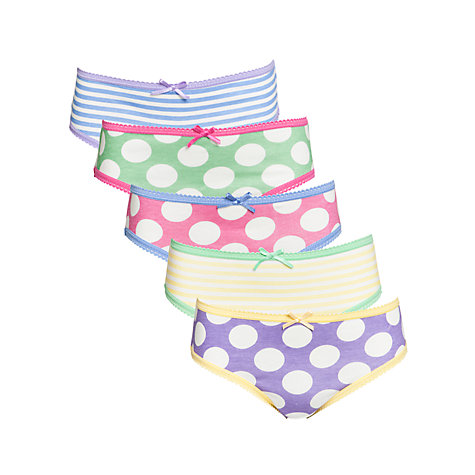 Buy John Lewis Girl Spot and Stripe Briefs, Pack of 5, Multi Online at johnlewis.com