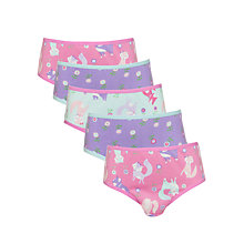 Buy John Lewis Girl Fox Briefs, Pack of 5, Pink/Purple Online at johnlewis.com
