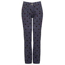 Buy John Lewis Girl Spot Twill Trousers, Grey/Black Online at johnlewis.com