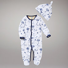 Buy John Lewis Baby Animal and Trees All in One with Hat, Navy Online at johnlewis.com