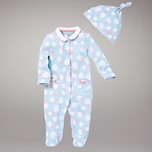 Buy John Lewis Baby Bluebird Sleepsuit and Hat, Blue Online at johnlewis.com