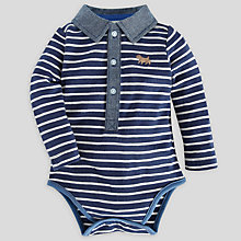 Buy John Lewis Baby Chambray Collar Striped Bodysuit, Navy Online at johnlewis.com