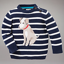 Buy John Lewis Baby Dog Striped Jumper, Navy Online at johnlewis.com