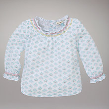 Buy John Lewis Baby Smocked Neck Top, Cream Online at johnlewis.com