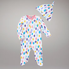 Buy John Lewis Baby Spotted Sleepsuit with Hat Online at johnlewis.com