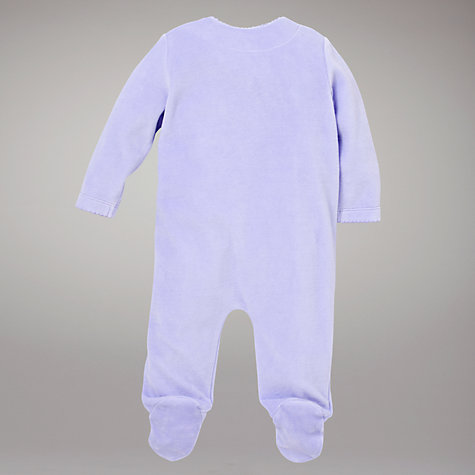 Buy John Lewis Baby Birds Velour Sleepsuit, Lilac Online at johnlewis.com
