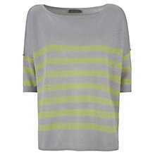 Buy Mint Velvet Linen Striped Boxy Jumper, Lime/Grey Online at johnlewis.com