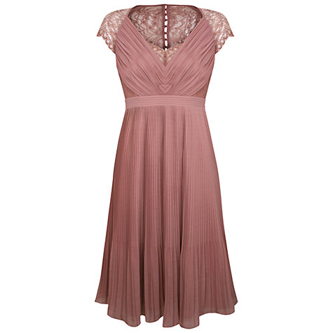 Buy Kaliko Middleton Pleat Dress, Pink Online at johnlewis.com