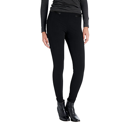 Buy Jigsaw Leather Trim Leggings, Black Online at johnlewis.com