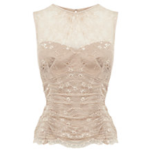 Buy Coast Arabella Lace Top, Neutral Online at johnlewis.com