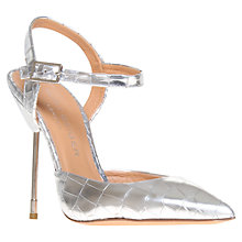 Buy Kurt Geiger Yasmin Printed Leather Slim Stiletto Court Shoes, Silver Online at johnlewis.com